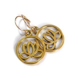 Polished Brass Lotus Flower Earrings
